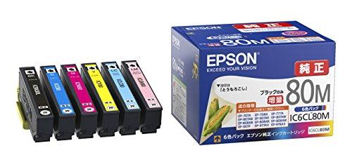 エプソン 純正 インクカートリッジ とうもろこし IC6CL80M 6色パック ブラックのみ増量