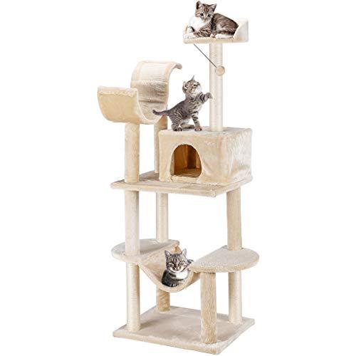 Finether Árbol Rascador para Gatos con Nidos, Juguete de Sisal Natural para Gatos con Plataformas, Color Beige