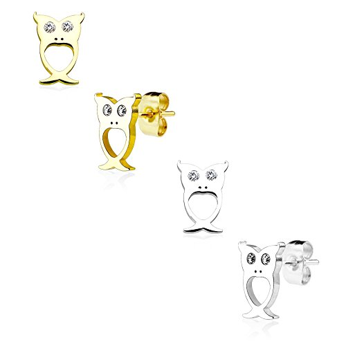 beyoutifulthings Damen 1 Paar Ohringe Ohr-ringe Set Ohr-stecker Edelstahl Chirurgenstahl Eule Augen clear Zirkonia gold silber