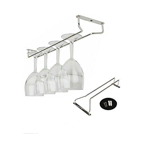 Leorx Supporto rack per bicchieri di vino o champagne, con viti (argento)