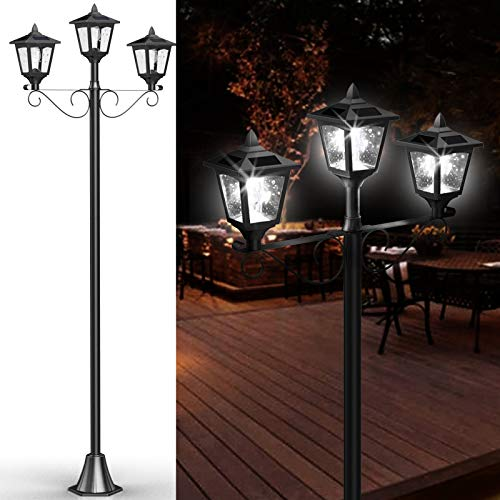 Upgrade Outdoor Solar Lamp Post Lights, Triple-Head Solar Lamp, Street Vintage Solar Post Light for Front/Back Yard, Street, Garden, Driveway, 72 Inches, 1Pack