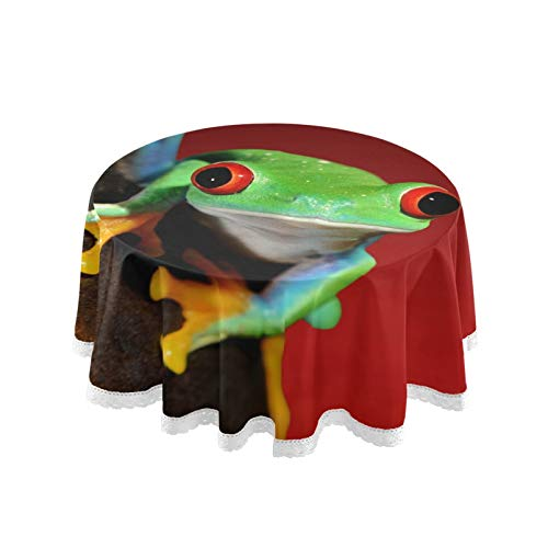 RELEESSS Round Tablecloth Tree Frog Table Cloth Circular 152cm Table Cover for Home, Kitchen, Dinning, Garden, Cafe, Buffet, Party, Wedding, Restaurant, Indoor Outdoor Tabletop Decor