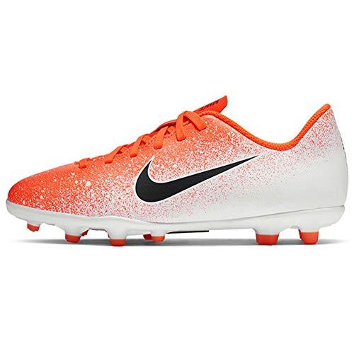 Chuteiras de futebol Nike Kids Jr. Vapor 12 Club MG, White/Crimson/Black, 3.5 Big Kid