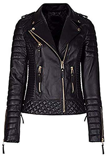 DeColure Damen Slim Fit New Look Motorrad Echtes Lammfell Leder Jacke Premium Qualität (XXS bis 3XL) Gr. XS, schwarz/strasssteine