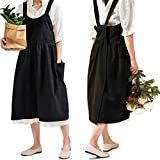 Japanese Cotton Linen Cross Back Apron for Women with...