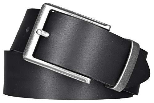 Mytem-Gear Leder Gürtel 4 cm Jeansgürtel Ledergürtel kürzbar (105 cm, Schwarz (Metallgürtelschlaufe))