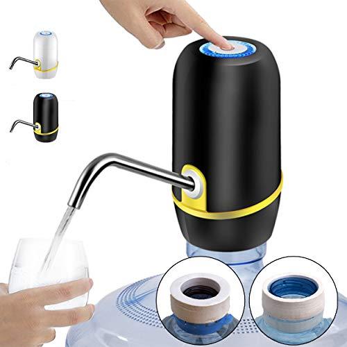 Dispensador de Agua para garrafas con Adaptador para Botellas de Agua comerciales. Grifos para Botellas de Agua Mineral. Dispensadores de Agua para bidones, Bomba eléctrica Agua (Negro con Adaptador)