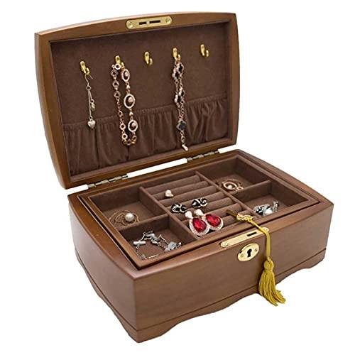 Adesign Caja de joyería para Mujeres niñas, Caja de joyería con Cerradura Organizador de joyería Estuche de Almacenamiento con Divisor extraíble para Pendientes de Collar Pulseras Anillos y Relojes
