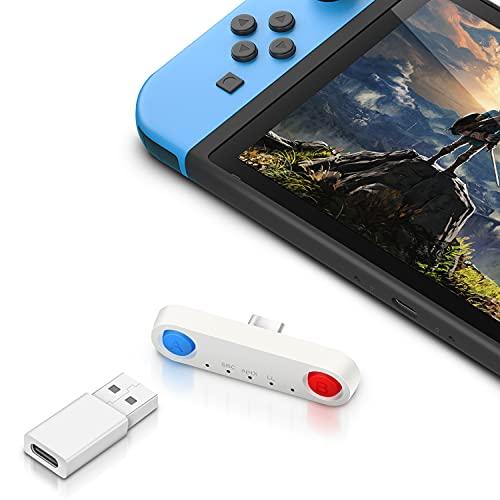 Switch用 Bluetooth オーディオアダプター トランスミッター 【Bluetooth5.0 遅延なし/ドライブ不要】 ヘッドホンアダプター 無線 ワイヤレス レシーバー 超薄型 オーディオアダプター USB-C 遅延なし Switch/lite/PS4/PCに対応