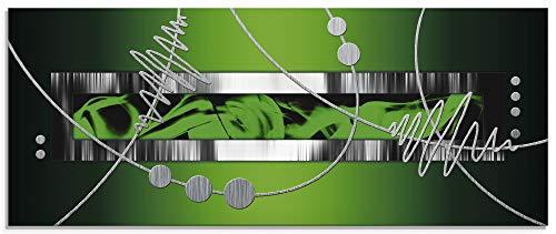 Artland Glasbilder Wandbild Glas Bild einteilig 125x50 cm Querformat Abstrakte Kunst Geometrie Ornamente Silber Grün S6FP