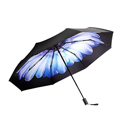KAIJ Sonnenschirm Doppelschirm, Winddicht Sonnenschutz UV-Schutz Dreifach-Regenschirm (Color : Blue)