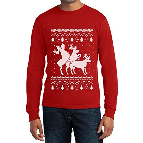 Shirtgeil Christmas Ugly Sweater Renne Natale Threesome Sex Maglia Uomo Manica Lunga Medium Rosso