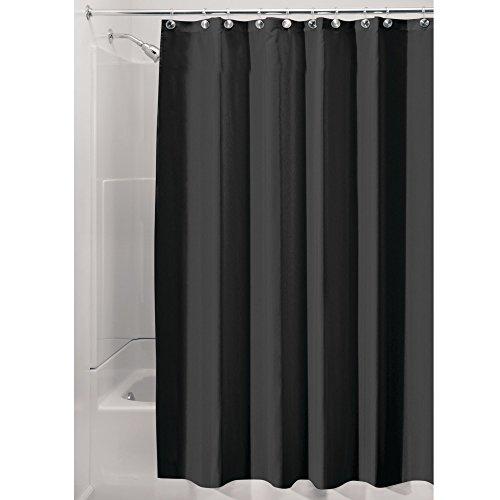 iDesign Duschvorhang aus Stoff | wasserdichter Duschvorhang mit verstärktem Saum | waschbarer Textil Duschvorhang in der Größe 183,0 cm x 183,0 cm | Polyester schwarz