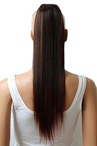 Prettyshop - Extensiones de pelo tipo cola de caballo de 60cm, resistentes al calor, diseño liso marrone mescolare # 2T33 HC18