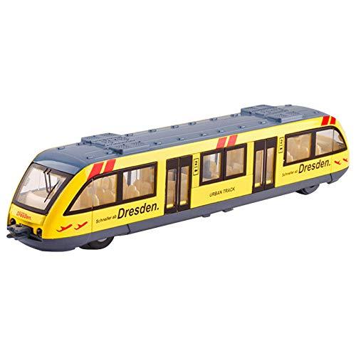 yestter-123 Tren De Juguete De Vagón De Juguete, Modelo De Metro De Dibujos Animados con Luz Y Puerta Que Se Puede Abrir, Tren De Simulación De Aleación Segura para Niños, Amarillo/Rojo/Verde/Azul