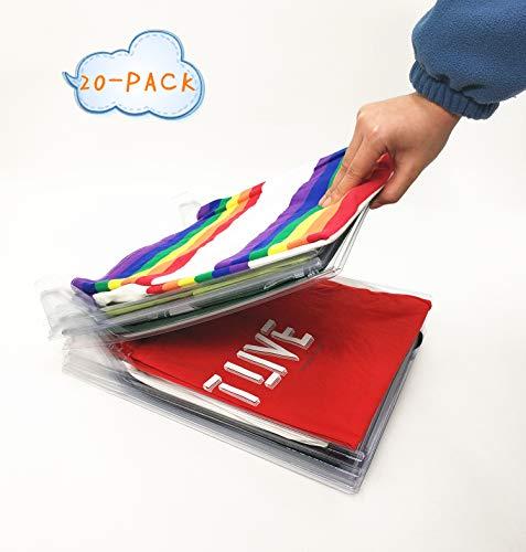 Nifogo Kleiderschrank Organizer Schubladen Organizer Schnelle Wäsche Organizer transparent Board Regal T-Shirt Faltbrett 20 Pack