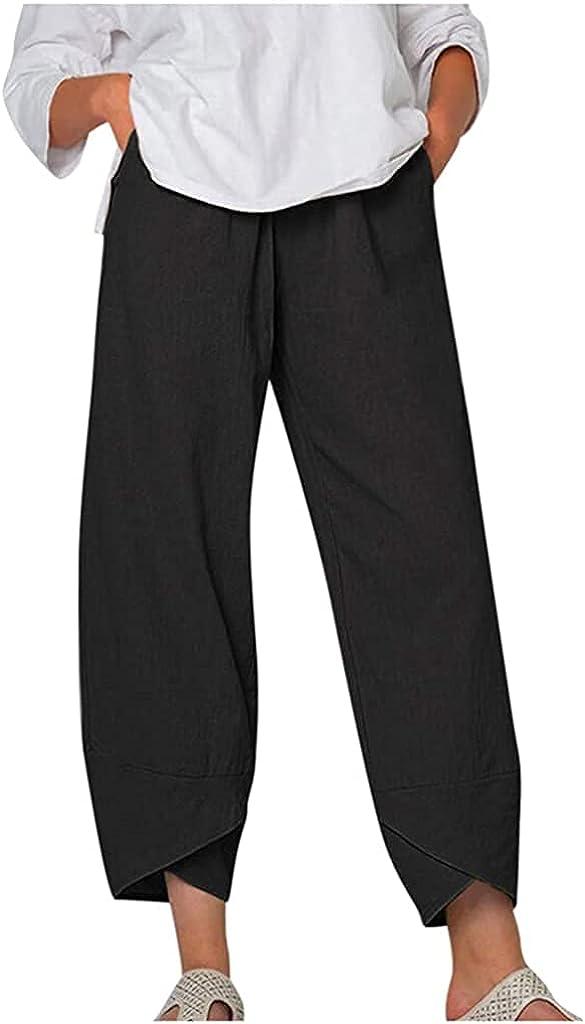 Blivener Wide Leg Linen Pants for Women Baggy Capri Pants Summer Casual Harem Cropped Pants with Pocket Plus Size