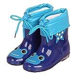 ADDYZ Los niños de goma botas de lluvia niños PVC algodón lluvia zapatos rosa impermeable-28, modelo 3 azul marino