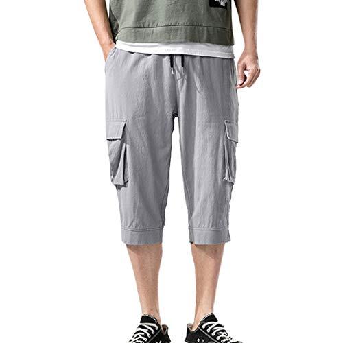 FRAUIT Heren casual effen shorts korte werkbroek klimbroek met veel zakken voor mannen vrije tijd sport zacht lopen paardrijden korte jogger broek