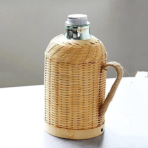 SHYOD Botella de Termo Olla de Tejido de bambú Hecha a Mano para Agua con Tapa de tapón de tapón y matraz de vacío de empuñadura Mantenga un Vidrio Caliente Grande Grande