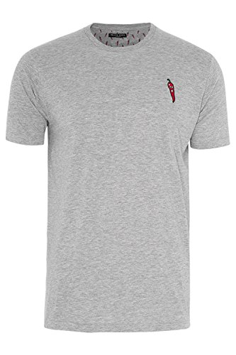 Brave Soul Herren Bestickt Chilli Emblem Kurzärmelig Rundhals Baumwolle T-Shirt - Hellgrau Meliert, M - 97-102cm Brust