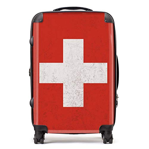 Switzerland/Swiss Flag Western European Flags Suitcase with TSA Lock 4 Spinner Wheels Luggage 68cm 80Ltr