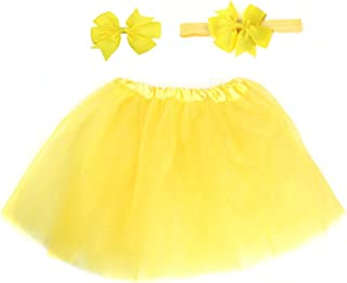 IRICEYE Christmas Decoration,3Pcs/Set Candy Color Soft Baby Girl Tulle Tutu Skirt Headband Hairpin Photo Prop - Yellow
