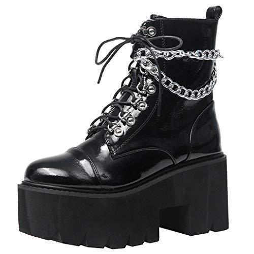 COCOLULU Damen Plateau Stiefeletten Gothic Blockabsatz High Heels Punk Stiefel mit sSchnürung und Reißverschluss(EU Size 39, Schwarz)