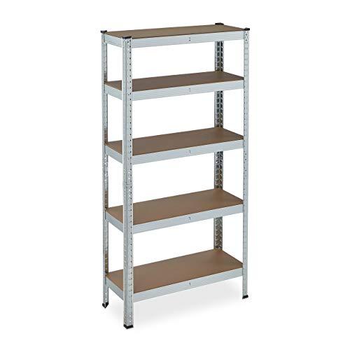 Relaxdays Schwerlastregal verzinkt, Traglast 875kg, 150x75x30 cm, 5 Böden, zum Stecken, Stahl, Lagerregal Keller, silber