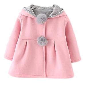 [ディフディフ] ベビー コート ジャケット うわぎ 赤ちゃん 可愛い 暖かい アウター ウェア うさぎ キッズ 子ども 服 ピンク 90 cm あかちゃん もこもこ 上着 ジャンパー 長袖 こども ウサギ おしゃれ かわいい 冬 用 服 女の子 1 2 3 4 才 歳 児 フード ポンポン 付き (ピンク, 90)