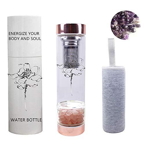 AITELEI Natürliche Edelstein Quarz Kristall Wasserflasche, Kristall Elixier infundierte Edelstein Wasserflasche für Heilung und Wellness - Doppelwandige Glasflasche mit Teekanne und Teesieb 400ML