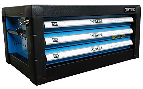 DeTec. Werkzeugkiste 2033 Carbon mit Werkzeug | Werkzeugkasten in blau | 3 Schubladen inkl. 129 tlg. Werkzeugsortiment - 6