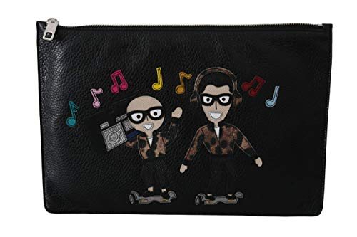 100% Authentic Dolce & Gabbana Music Lover Hand Pouch Strapless 100% Calf Leather Made in Italy
