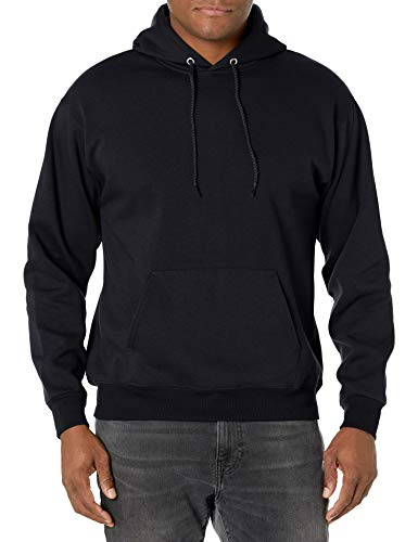 Hanes mens Pullover Ecosmart Fleece Hooded Sweatshirt,Black,Large
