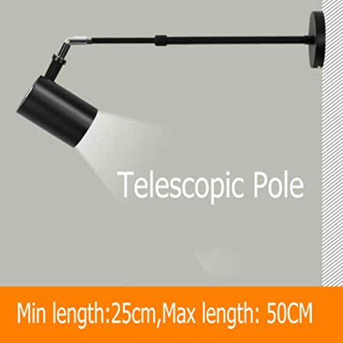 CUS Modern LED Extendable Telescopic Wall Lamps Aluminium Sconces White Black Long Arm Wall Spot Light for Painting Picture Gallary,Telescopic Lamp,12W