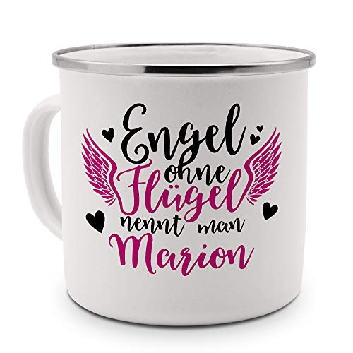 printplanet - Emaille-Tasse mit Namen Marion - Metallbecher mit Design Engel - Nostalgie-Becher, Camping-Tasse, Blechtasse, Farbe Silber, 400ml