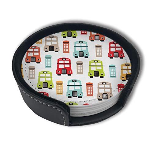 BJAMAJ Londen Uk Icoon Van De Road Boot Premium PU Lederen Coasters, Drink Ronde Coasters Met Houder Sets, Geschikt Voor Thuis En Keuken (6PCS)
