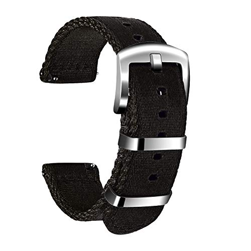 ULLCHRO Unisex Nylon Armband mit Edelstahl Silberne Schnalle (20mm, Schwarz)