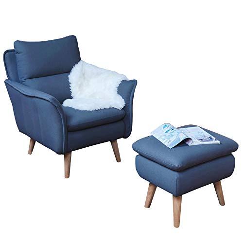 place to be Hocker Polsterhocker Sitzhocker Fussablage Klavierhocker Fussbank für Ohrensessel und skandinavische Möbel mit Massivholzfüssen passend zu...