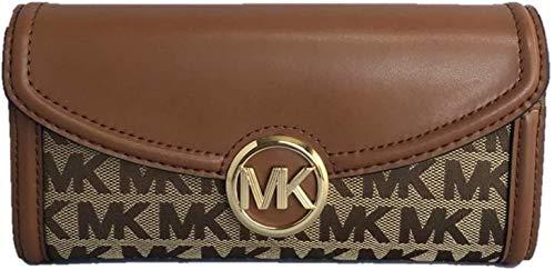 Michael Kors Fulton Signature Jacquard Large Flap Continental Wallet (2019) - Beige/Ebony/Luggage