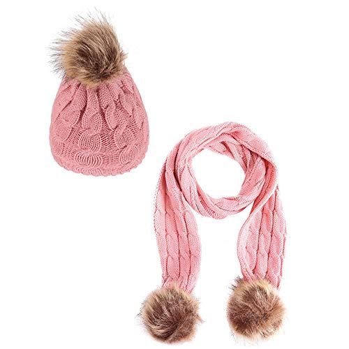 BulzEU- 2 STKS Unisex Baby Breien Hoed Sjaal Set, Winter Warm Peuter Meisjes Jongens Kids Pom Pom Gebreide Hoed Nek Warmer Beanie Ski Cap Pluche Hoeden