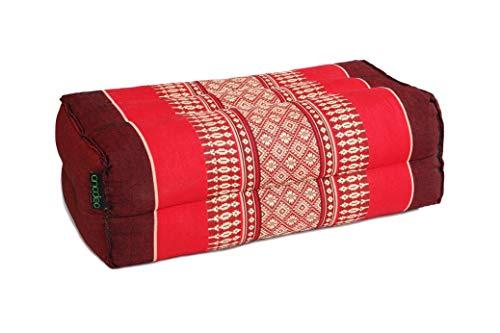 ANADEO YogaProducts Standard - Cojín de Yoga y Meditación Estándar Zafu - Kapok de Allta Densidad 100% Natural - Comodidad y Firmeza - Estabilidad del Asiento - Rojo Burgundy - X1