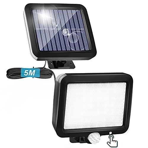 Lámparas solares para exteriores con detector de movimiento, lámpara solar 3 modos e interruptor, 56 luces LED solares, IP65, resistente al agua, foco cable 16,5 metros, ángulo iluminación 120°.