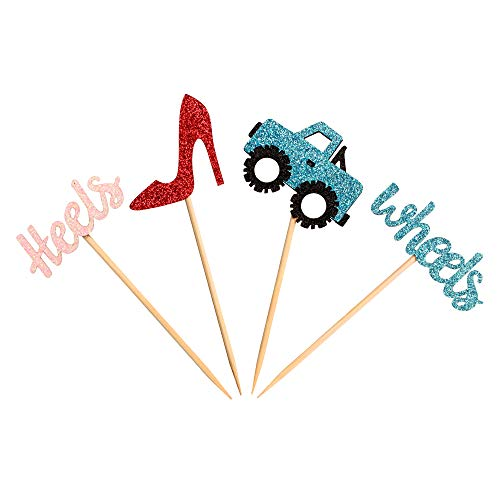 Unimall Pack of 24 Colorful Wheels or Heels Gender Reveal Cupcake Toppers, Baby Shower Birthday Party Wedding Party Decorations - Boy or Girl - He or she