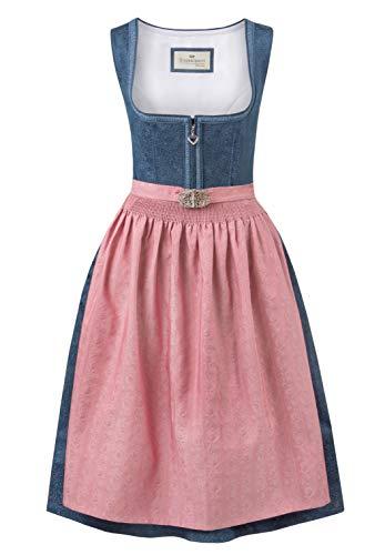 Stockerpoint Damen Dirndl Roseline Kleid für besondere Anlässe, blau-Altrosa, 38