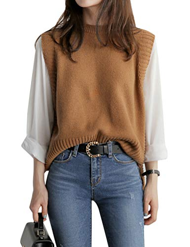 Uaneo Women's Basic Round Neck Sleeveless High Low Pullover Knit Sweater Vest (One Size, Brown)