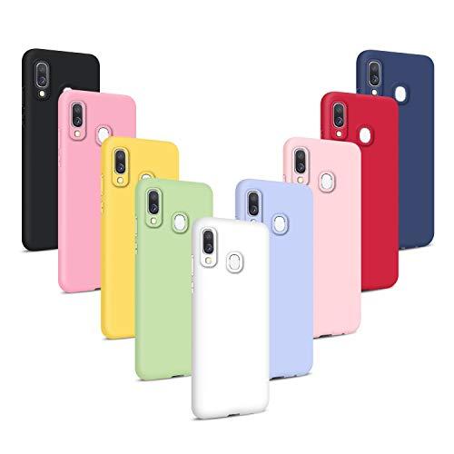9X Cover per Samsung Galaxy A20e (2019), Morbido Silicone Case Tinta Unita Ultra Sottile Custodia TPU Flessibile Gomma Protezione Posteriore Antiscivolo Protettiva Skin Caso - 9 Colori