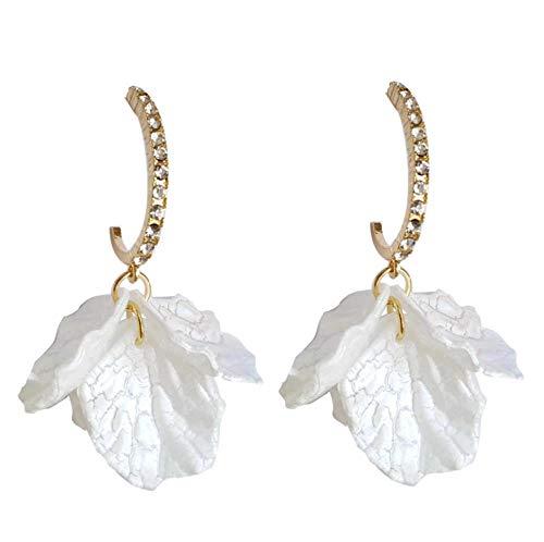 Yhhzw Needle Super Fairy Women Jewelry Petal Flower Drop Earrings C Shape Shiny Crystal Earrings Female Girl Gifts