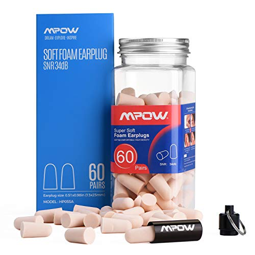 Mpow Super Soft Sleeping Earplugs 60 Pairs with a Carry Case, 32dB NRR Noise Reduction Ear Plugs, Foam Earplugs for Sleeping, Working, Studying, Mowing, Shooting-Orange