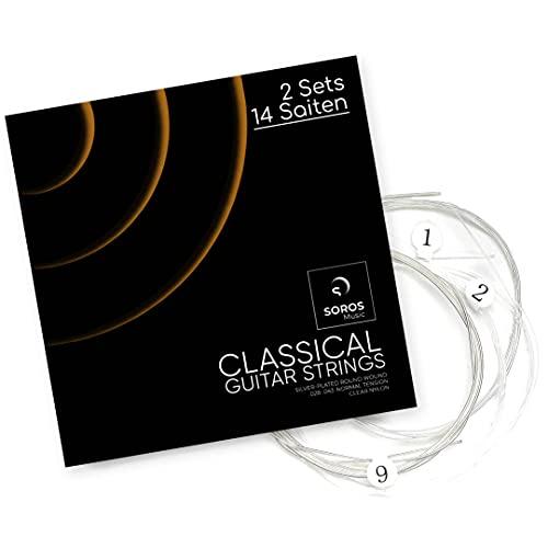SOROS Gitarrensaiten Konzertgitarre - 2er Set - Premium Nylon Saiten für klassische Gitarre, Akustikgitarre (14 Saiten-Set) - Inkl. Ersatz-Set